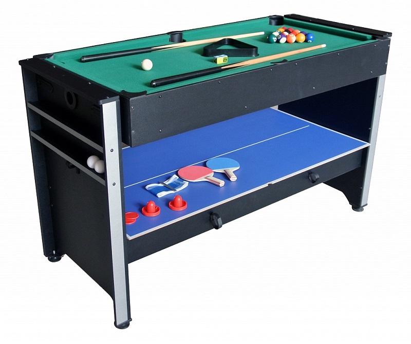 Игровой стол - многофункциональный 3 в 1 Weekend Billiard Global 53.003.04.0Столы трансформеры<br>Игровой стол - многофункциональный 3 в 1 Global 53.003.04.0 включает в себя несколько игр: бильярд, аэрохоккей и настольный теннис. Игровые поля произведены из ламинированных древесно-стружечных плит. Корпус игрового стола изготовлен из высокопрочных материалов, которые устойчивы к царапинам и другим возможным повреждениям. Такие качества надолго сохраняют хороший внешний вид и функциональность стола. Габариты данной модели составляют 132x60x76 см.<br><br>В комплектацию многофункционального игрового стола входят все необходимые аксессуары для предлагаемых игр. Для бильярда имеется набор бильярдных шаров (16 шт.) из пластика диаметром 38 мм, пластиковый треугольник, деревянный кий (2 шт.) и мел (2 шт.). Для настольного тенниса прилагаются две ракетки, мяч (2 шт.), теннисная сетка и две стойки для сетки. Для аэрохоккея предложен набор, состоящий из двух бит и двух пластиковых шайб. Такой многофункциональный стол обеспечит увлекательное и разнообразное времяпрепровождение, как детям, так и взрослым. А выгодно купить игровой многофункциональный стол 3 в 1 Global 53.003.04.0 вы можете в нашем интернет-магазине «Дом Спорта».<br>