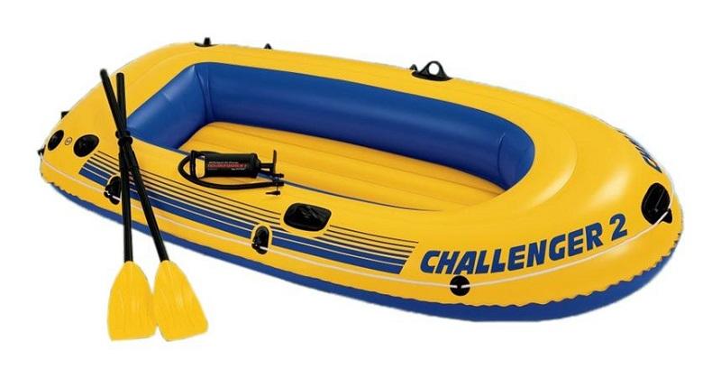 Лодка Challenger-2 236х114х41см пластиковые вёсла, ручной насос Intex 68367