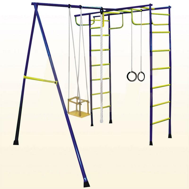 Детский спортивный комплекс ТМК Лидер Д2Металлические комплексы для частного использования<br>Детский спортивный комплекс ТМК Лидер Д2<br> quot;Лидер-Д quot; (старое наименование  quot;Лидер-Д2 quot;) - детский спортивный комплекс, предназначенный для выполнения различных спортивных упражнений на открытой площадке детьми от 3 лет и подростками. Занятия на спорткомплексе развивают силу, ловкость, координацию движений, выносливость, улучшают осанку.<br>На спортивном комплексе  quot;Лидер-Д2 quot; можно выполнять следующие спортивные упражнения:<br> на канате: подтягивание и лазание;<br> на металлической лестнице: подтягивание и лазание (подъем и спуск);<br> на кольцах: подтягивание с поворотом и раскачивание, вращение относительно вертикальной оси;<br> на металлической лестнице в комбинации с канатом: подъем по лестнице и спуск по канату.<br><br>Характеристики:<br> Крепление: цементируются  quot;стаканы quot;, в которые устанавливаются стойки ДСК.<br> Высота: 2,2 м.<br> Вес: 65 кг.<br> Площадь: 2,13 х 1,95 м.<br> Перекладины на шведской стенке покрыты порошковой эмалью, поэтому они легко моются.<br> Размер упаковки:<br>- 1 место: 28х18х150 см;<br>- 2 место: 33х10х246 см.<br><br>Съемные спортивные снаряды:<br> качели деревянные со шнуровой подвеской,<br> канат,<br> кольца со шнуровой подвеской.<br><br>Спорткомплексы  quot;Лидер quot;, предназначенные для установки на улице, могут быть легко демонтированы на зиму, поэтому называются  quot;дачными quot;. Ноги  quot;дачных quot; спорткомплексов крепятся в специальные  quot;стаканы quot;, которые предварительно бетонируются в земле. Все необходимые детали и узлы идут в комплекте к комплексу, кроме бетона.<br><br>Перед началом эксплуатации комплекса в обязательном порядке проверяются:<br> правильность сборки узлов крепления металлической лестницы к потолочной раме. При этом следует убедиться, что стенка выдвижных труб и стенки угловых кронштейнов полностью западают в канавки соединительных пальцев;<br> правильность сборки к