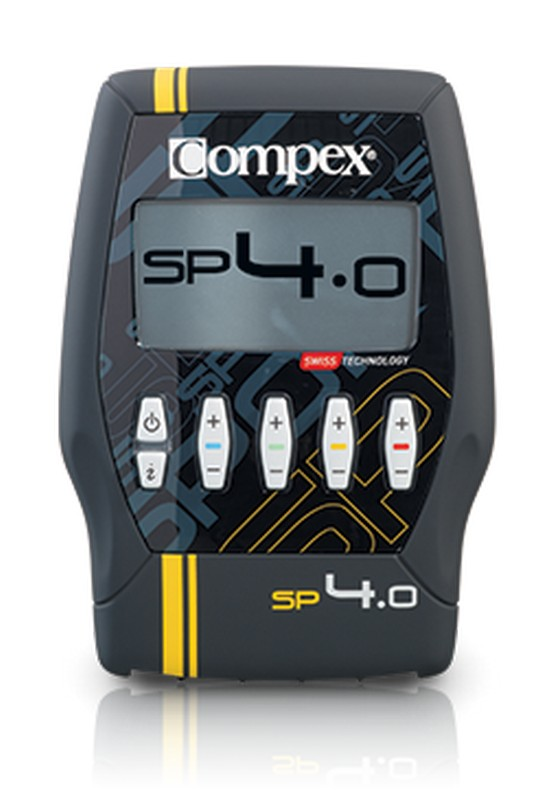 Электростимулятор Compex SP 4.0Миостимуляторы<br>Электростимулятор Compex SP 4.0<br>30 программ<br>Этот электростимулятор улучшает ваши силы и восстанавливает мышечные объемы, помогает вам расслабиться и восстановиться быстрее. В дополнение ко всем преимуществам SP2.0, SP4.0 также предлагает реабилитационные программы, которые могут быть полезны для спортсменов с частыми травмами, которые тренируются 3 раза в неделю.<br>20 минут занятий с Compex равноценны по эффекту 350 скручиваниям и 160 приседаниям.<br>Эффективность Compex по данным исследований:<br>Увеличивает силу на 27%<br>Повышает взрывную мощь на 15%<br>Увеличивает вертикальный прыжок на 14%<br>Увеличивает объем мышц на 8%<br>Уменьшает приток молочной кислоты на 25%<br><br>Перечень программ Compex SP4.0:<br>Категория Conditioning <br>Endurance. Resistance. Strength. Explosive Strength. Cross-training. Core stabilisation. Hypertrophy. Muscle building. Warm-up. Capillarisation.<br><br>Категория Pain management <br>Pain management TENS. Reduce muscle tension. Muscle pain. Neck pain. Back pain. Tendinitis. Heavy legs. Cramp prevention.<br><br>Категория Rehabilitation <br>Muscle atrophy. Reinforcement.<br><br>Категория Recovery / Massage <br>Training recovery. Competition recovery. Relaxing massage. Reduce muscle soreness. Reviving massage.<br><br>Категория Fitness <br>Firm your arms. Tone your thighs. Get a 6-pack. Firm your stomach. Shape you buttocks.<br><br>Комплектность:<br><br>Стимулятор<br>Зарядное устройство<br>Комплект из 4 шнуров<br>Шнур датчика MI-SENSOR <br>Набор электродов 5 X 5 (2 шт.)<br>Набор электродов 5 X 10 (2 шт.)<br>Инструкция на компакт-диске<br>Краткое руководство пользователя<br>Транспортный футляр<br>Аккумуляторная батарея<br>