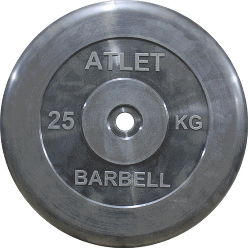 Диск обрезиненный d31мм MB Barbell Atlet 25 кг черный