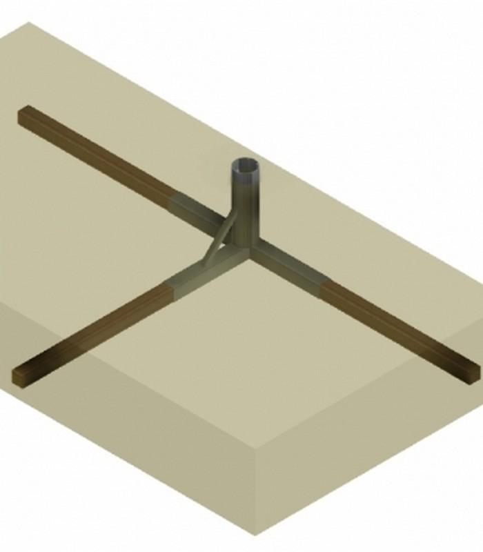 Закладной элемент для алюминиевых волейбольных стоек Pesmenpol, профиль 116х76мм