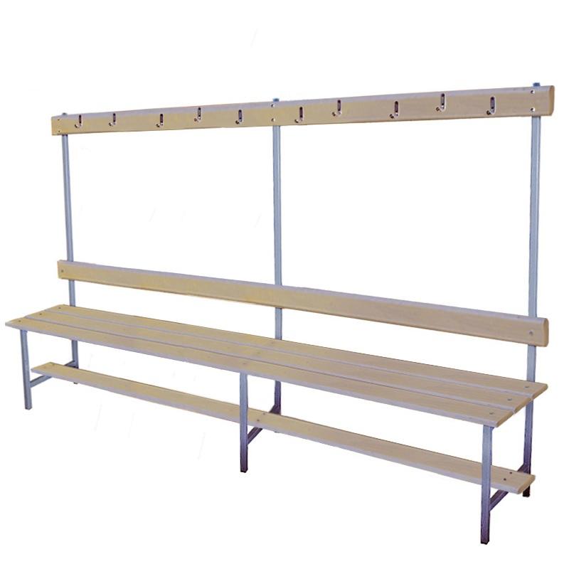Купить Скамейка для раздевалки с вешалкой 2000 мм сиденье из фанеры Dinamika ZSO-002195,
