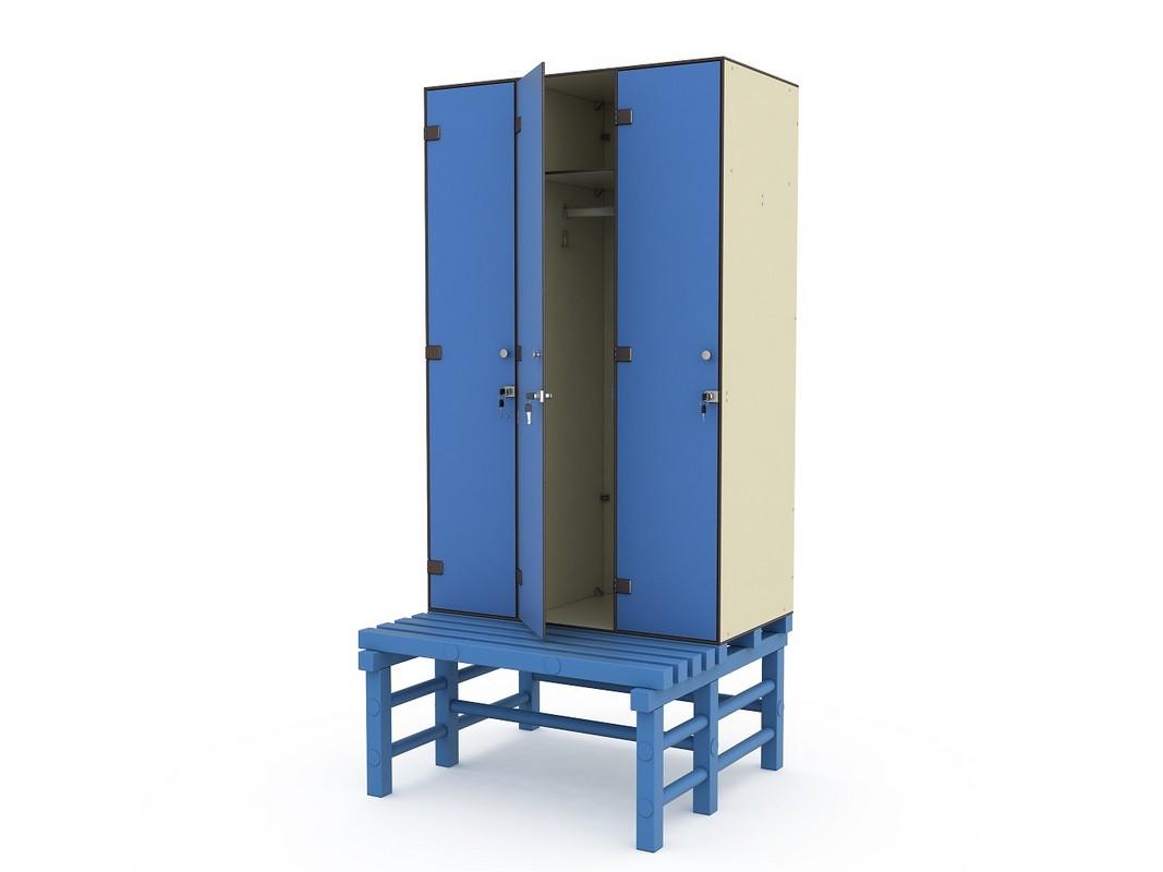 Шкаф ПТК Спорт СТ 3-1 на скамье-подставке (3 ячейки)