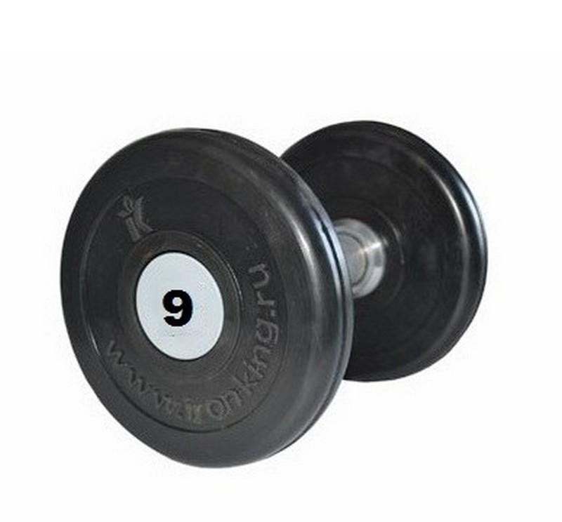 Купить Гантель профессиональная хром/резина 9 кг. Iron King IK 500-9,