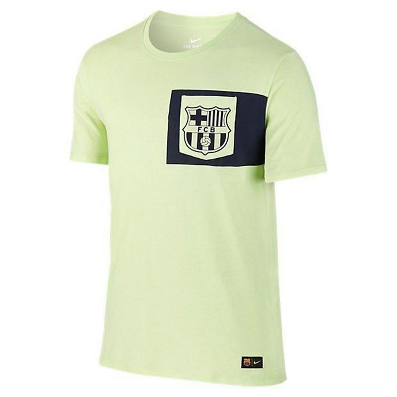 Футболка спортивная Nike FC Barcelona Crest Tee 832658-344 мужская, св.зел/черн. roma nike футболка nike roma tee crest 888804 613