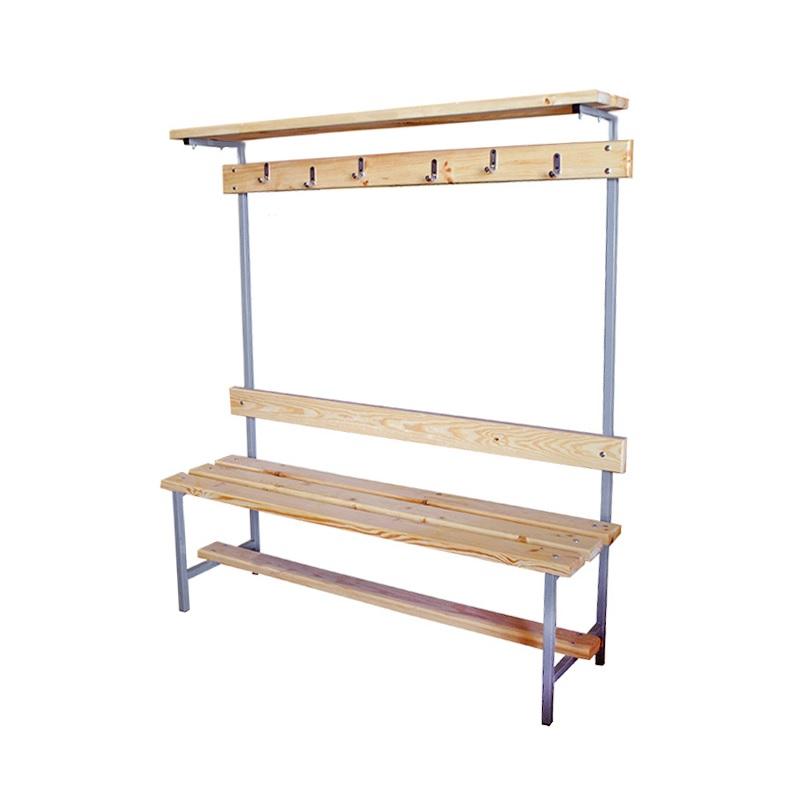 Купить Скамейка для раздевалки с вешалкой 1200 мм верхней полкой сиденье из дерева Dinamika ZSO-002199,