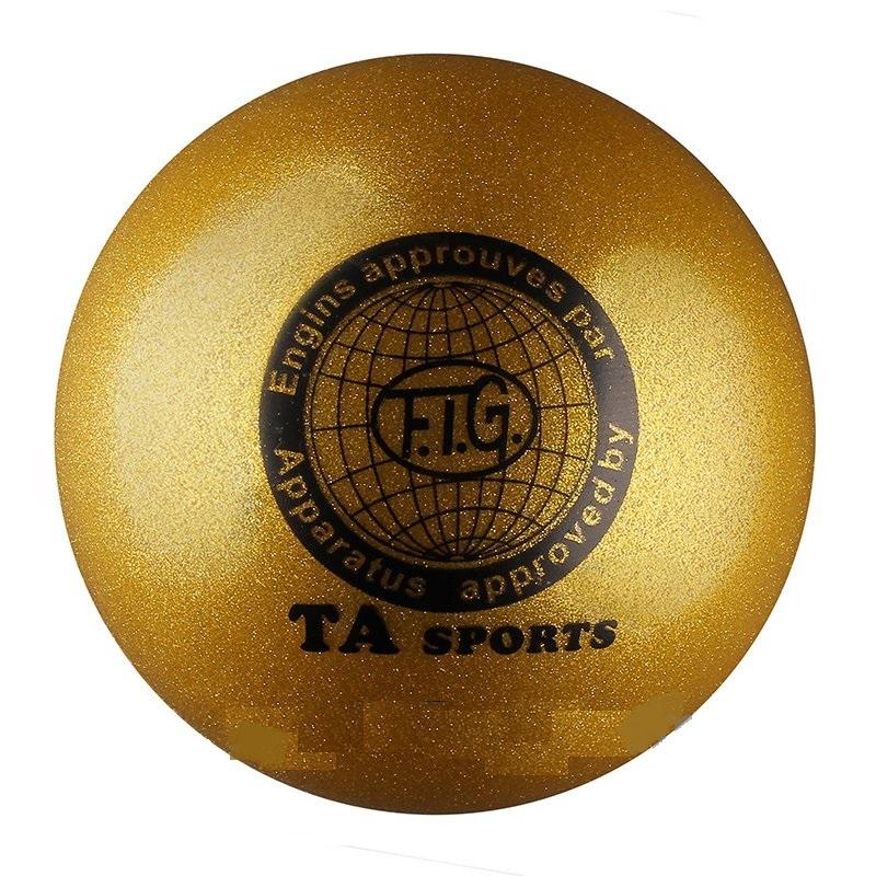 Купить Мяч для художественной гимнастики Indigo D=19 см (с блестками) золотой,