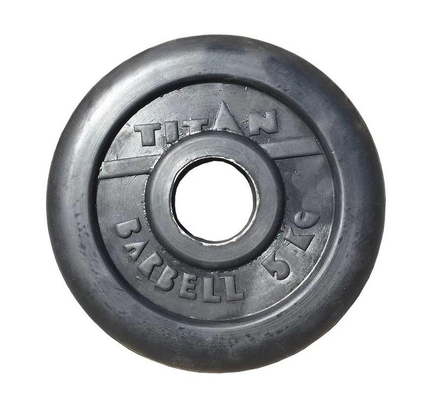 Диск обрезиненный d51мм MB Barbell Titan 5 кг черный диск обрезиненный d31мм mb barbell titan 25 кг черный