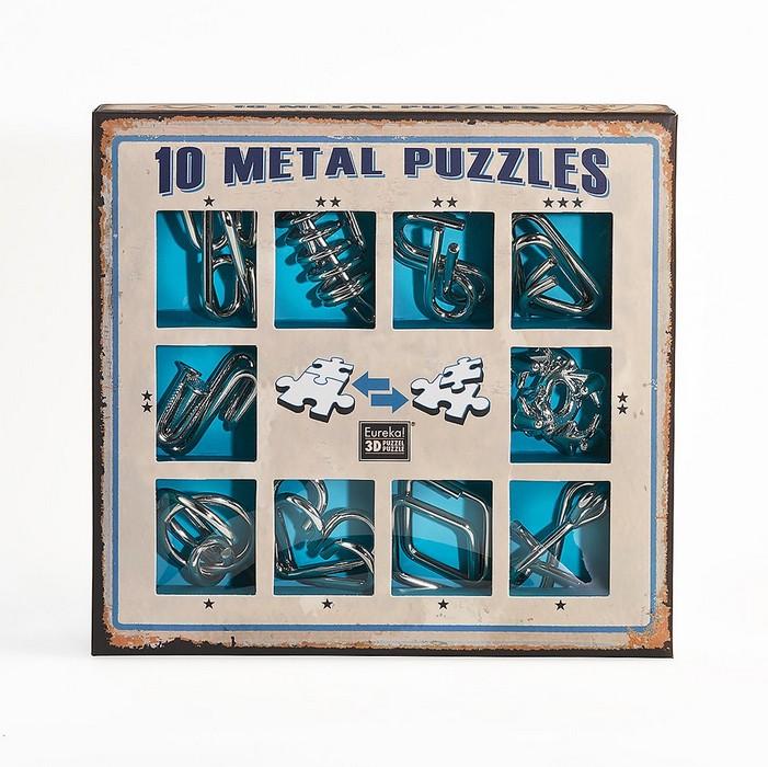 Набор из 10 металлических головоломок (синий) 10 Metal Puzzles blue set NoBrand