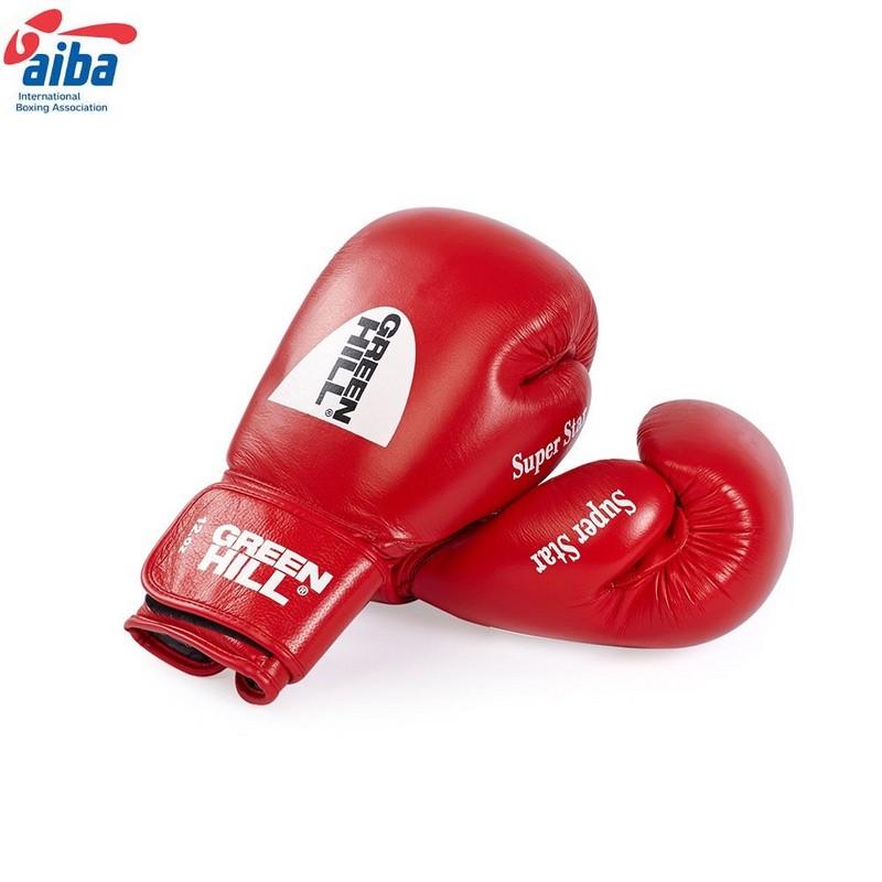 Купить Перчатки боксерские Green Hill Super Star BGS-1213, нат. кожа, одобр. AIBA, дизайн 2017 г., красные,