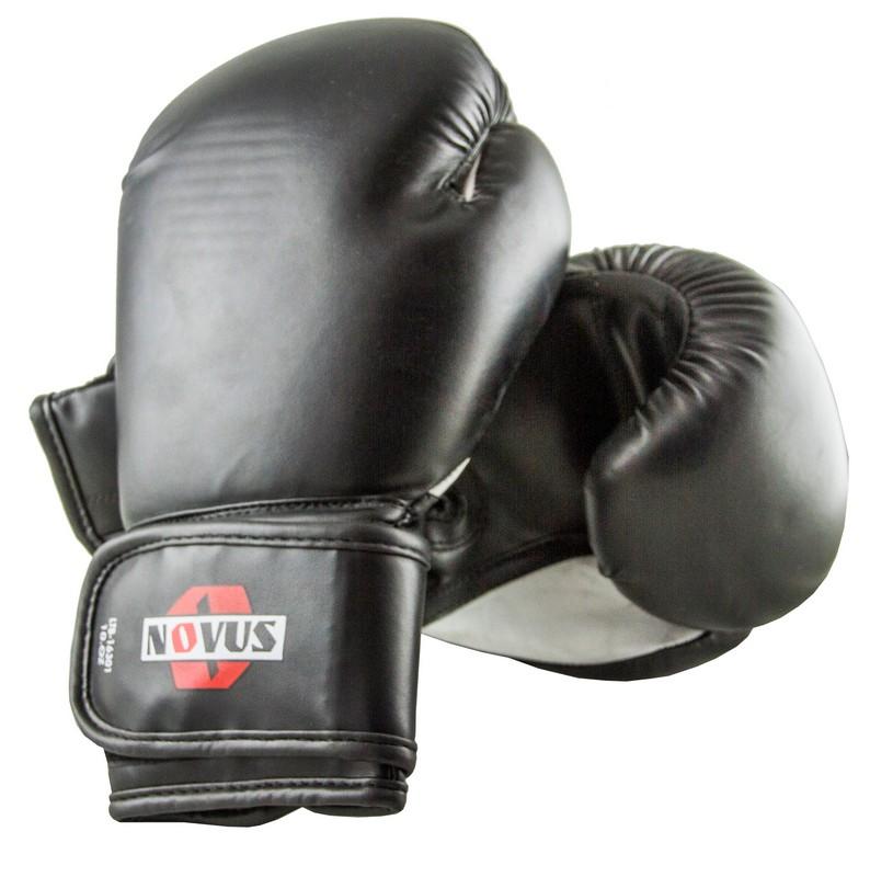 Перчатки боксерские Novus LTB-16301, 12 унций S/M, черные фото