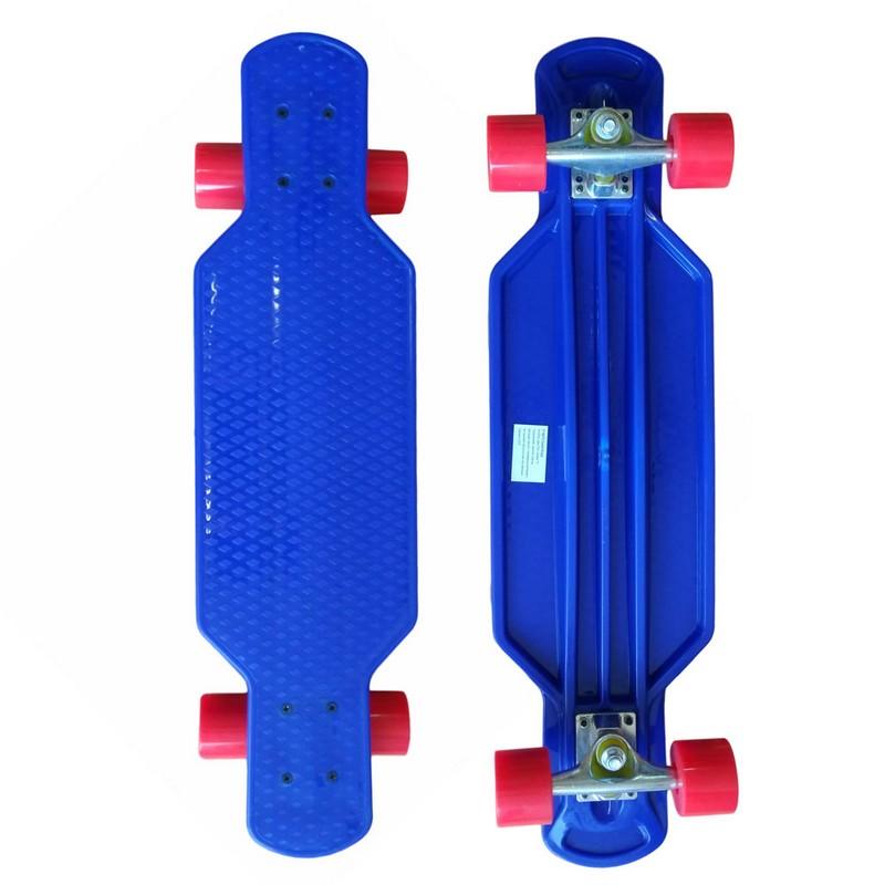 Лонгборд пластиковый F18475 84x22см синий и красными колесами фото