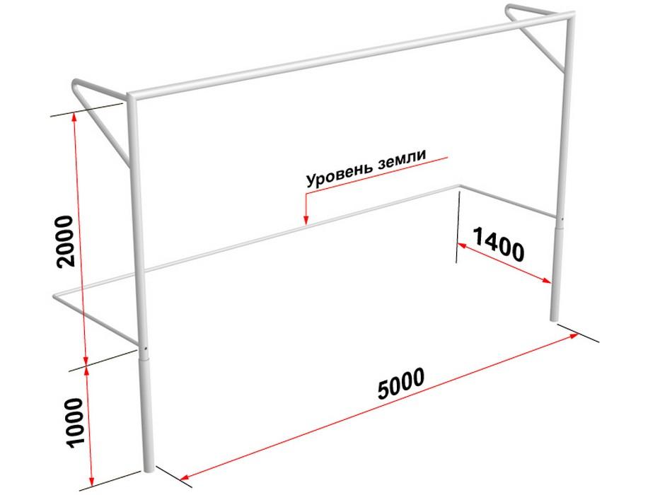 Купить Ворота футбольные Glav с консолями для натяжения сетки, разборные (5х2 м) 15.101.1,