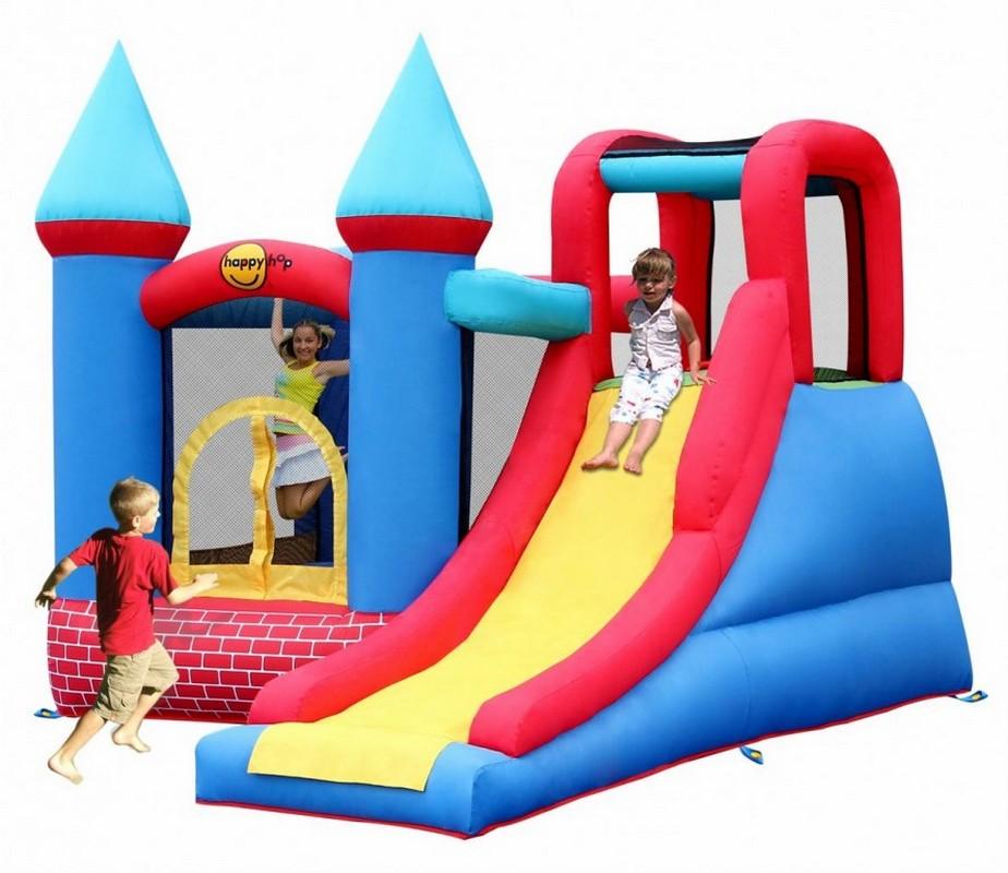 Детский надувной батут Happy Hop Замок с горкой 9007