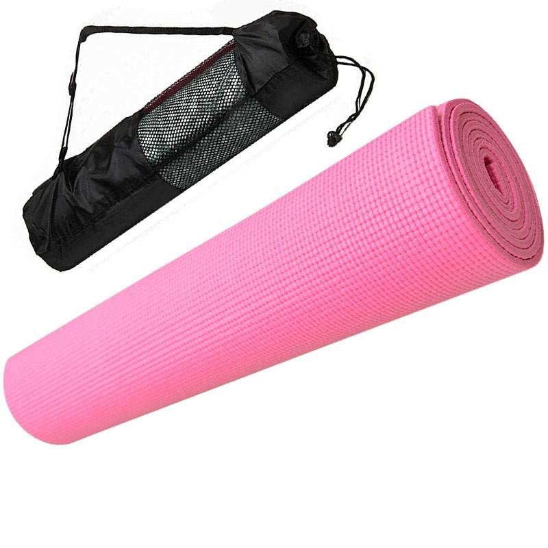 Купить Коврик для йоги ПВХ 173х61х0,4 см с чехлом E29255 розовый, NoBrand