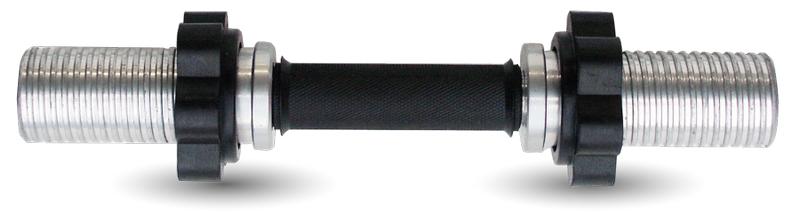Гриф для гантели L 490 мм. d- 50 замок гайка обрезиненная (хром.), NoBrand  - купить со скидкой