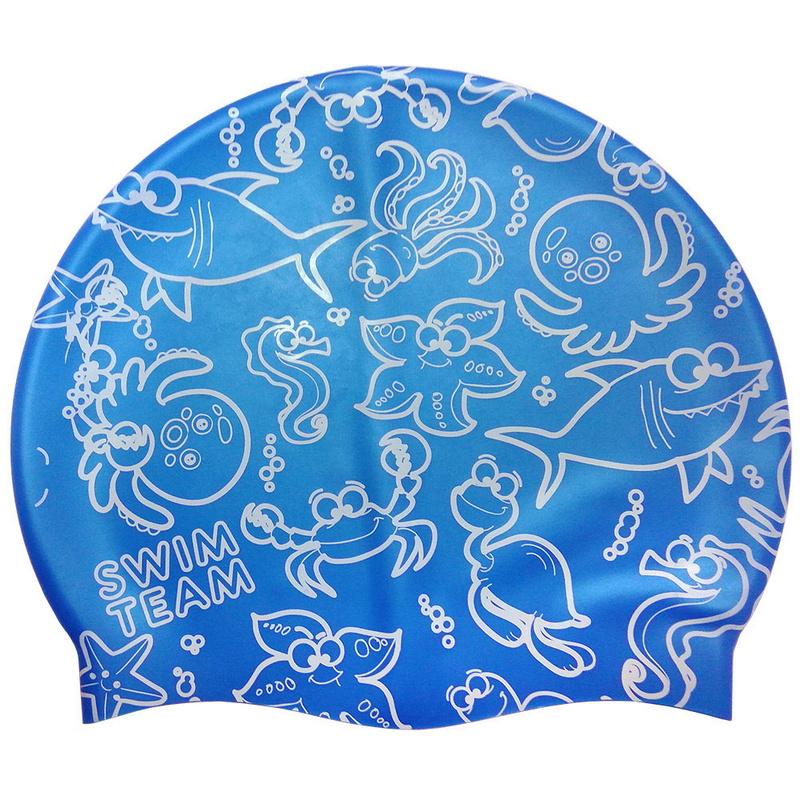 Купить Шапочка для плавания JR Синяя с Белым принтом SwimTeam KSC-38-C, NoBrand