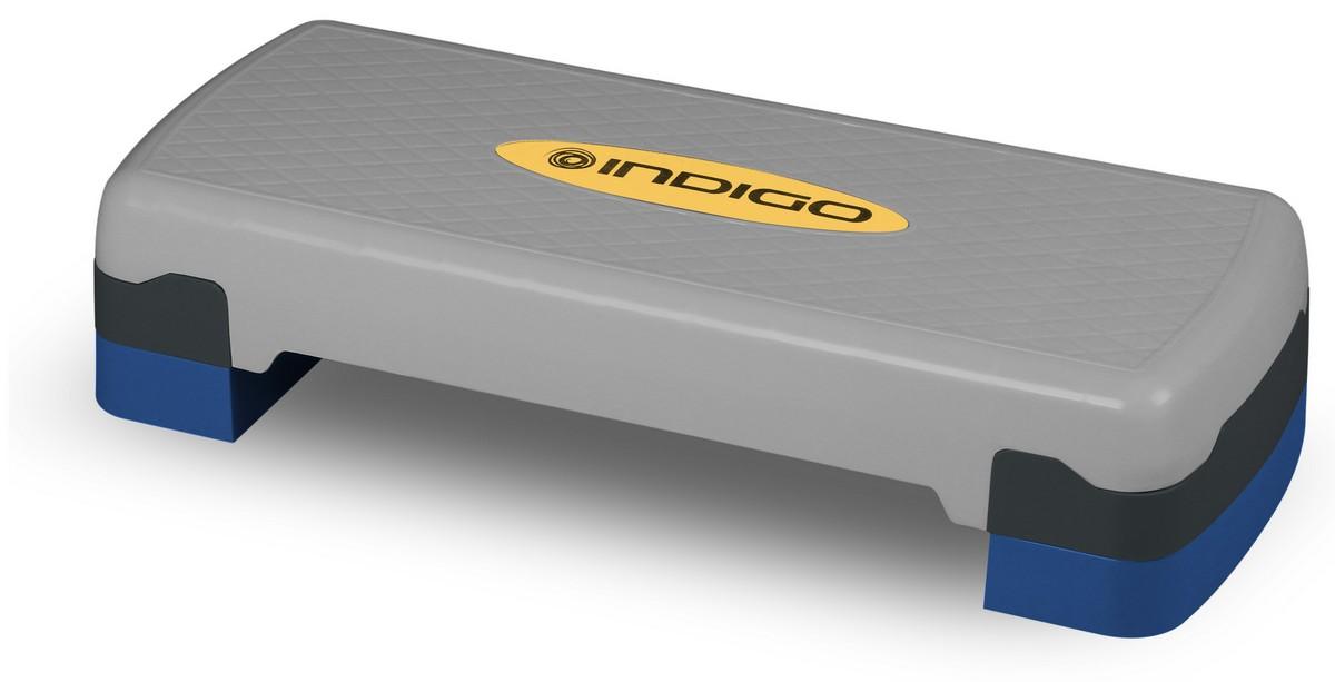 Степ-платформа для аэробики 2 уровня Indigo серо-синий.