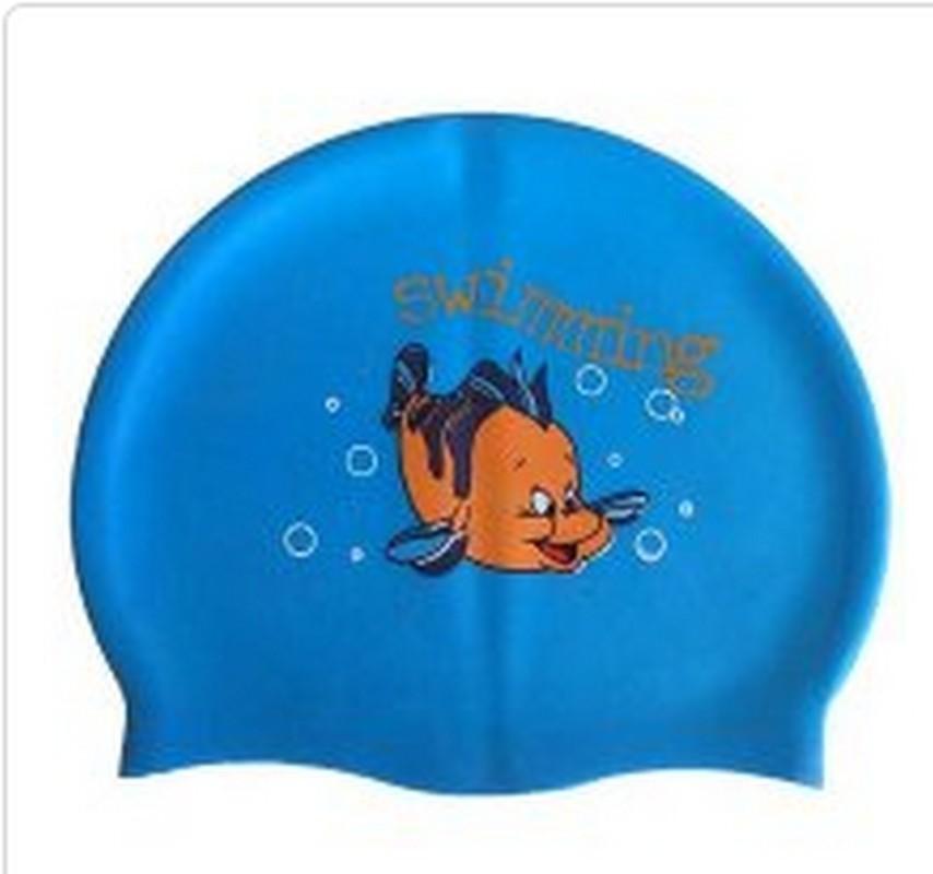 Купить Шапочка для плавания силиконовая с рисунком RH-С30 голубая, NoBrand