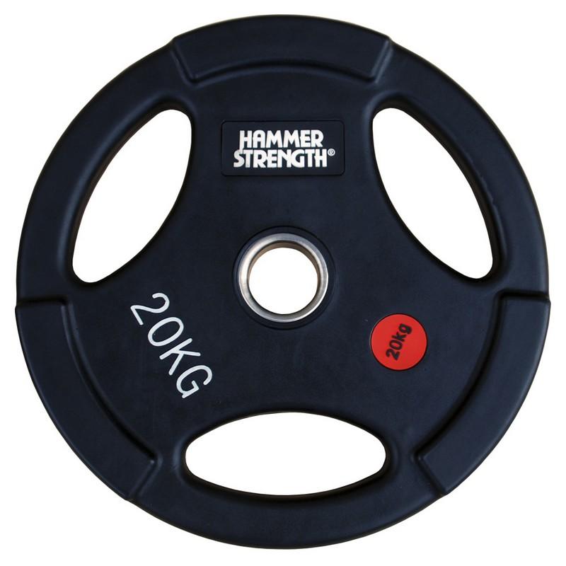 Купить Диск олимпийский обрезиненный с 3-мя хватами d51мм Hammer WP074B 20кг черный,