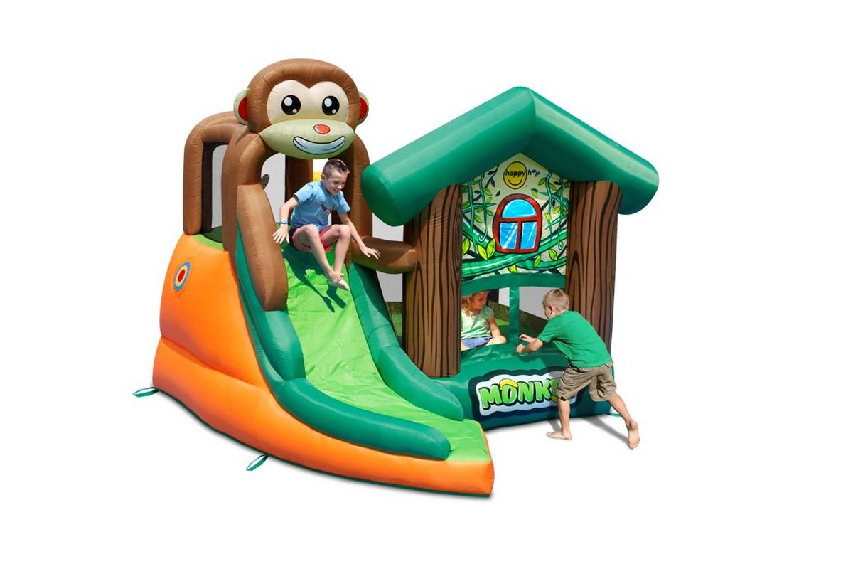 Детский надувной батут с горкой Happy Hop Мартышка 9471