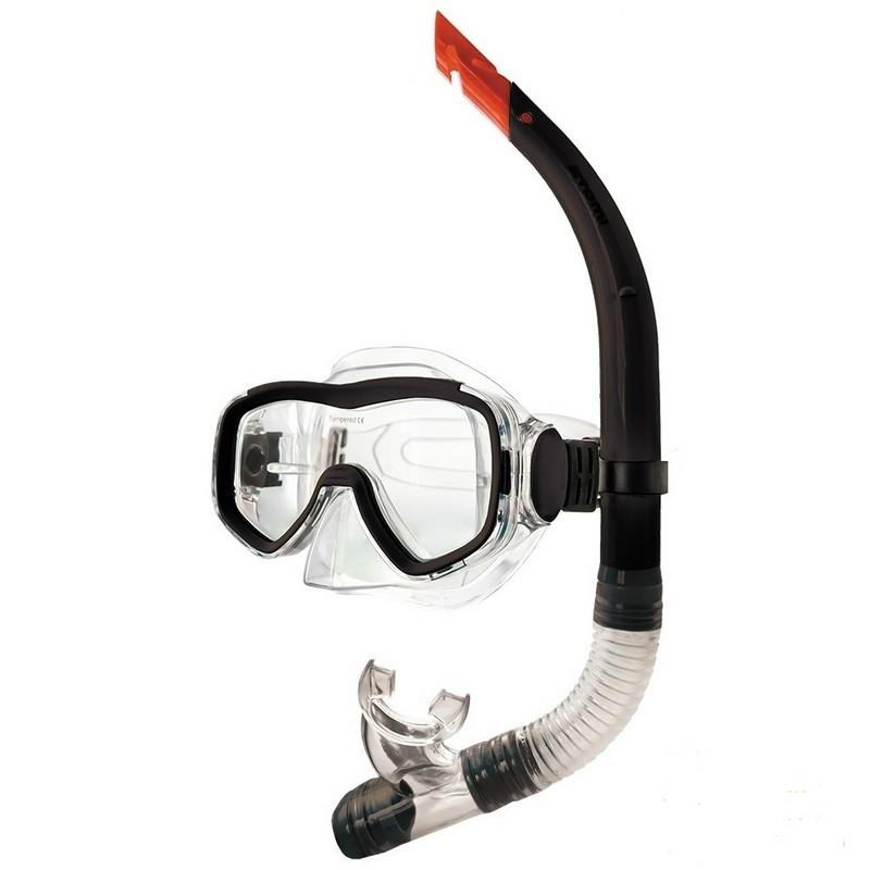 Купить Набор для плавания Atemi маска+трубка 24102 чёрная,