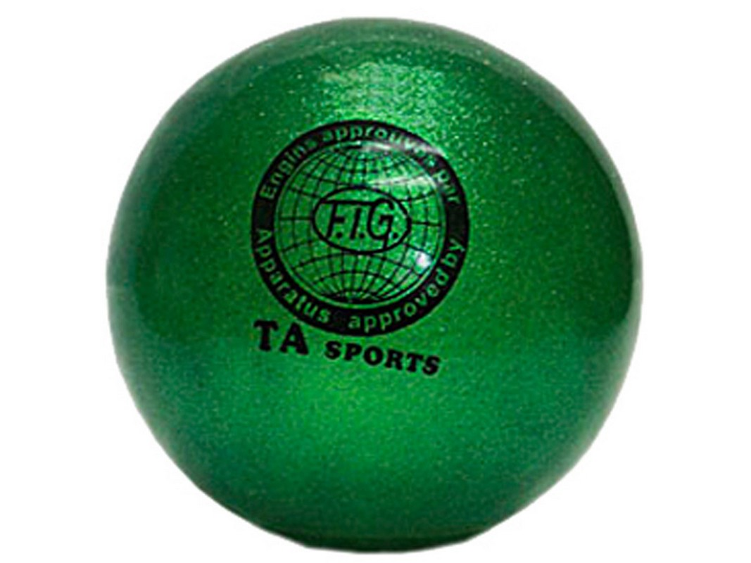 Купить Мяч для художественной гимнастики Indigo D=15 см (с блестками) зеленый,