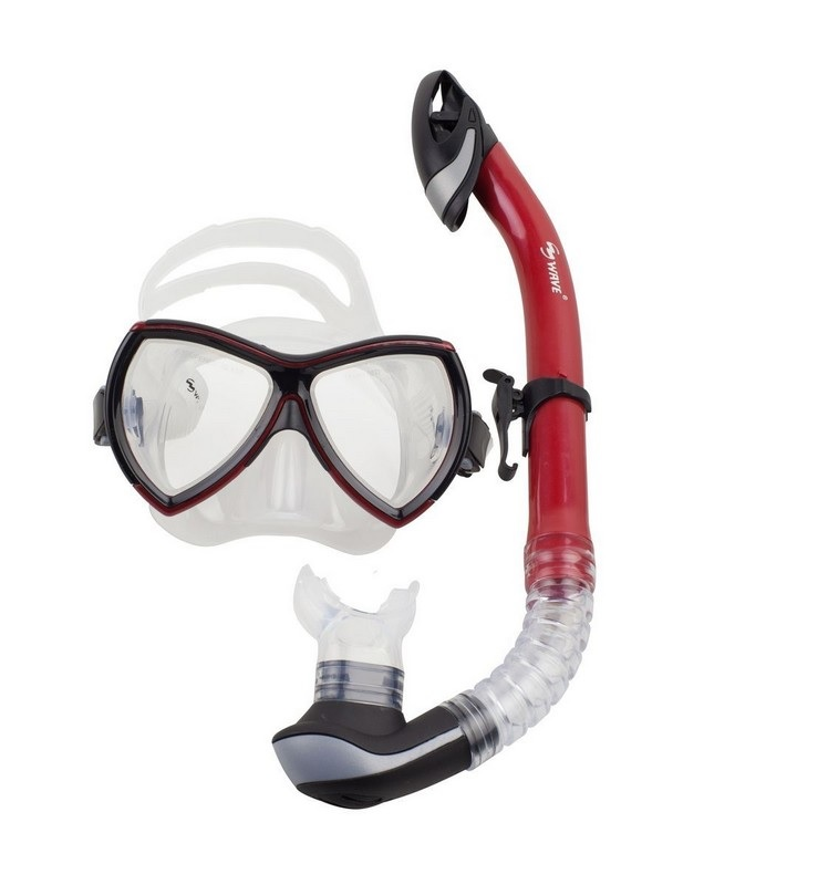 Купить Маска+трубка Wave Diving Mask and Snorkel Set Silicone MS-1380S57 red,