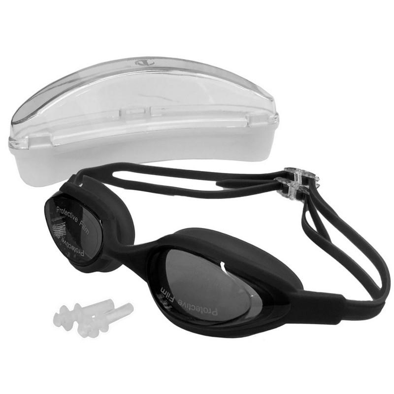 Купить Очки для плавания силиконовые с берушами H10180-1 черный, NoBrand