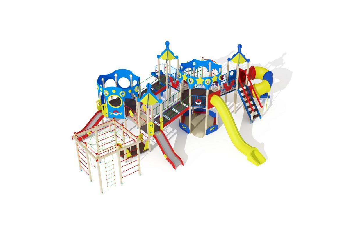 Купить Детский игровой комплекс Морской (винтовойскат)горка Н1200горкаН2000 МАФ1400х1137,3х422 см ДИК1707, МАФ