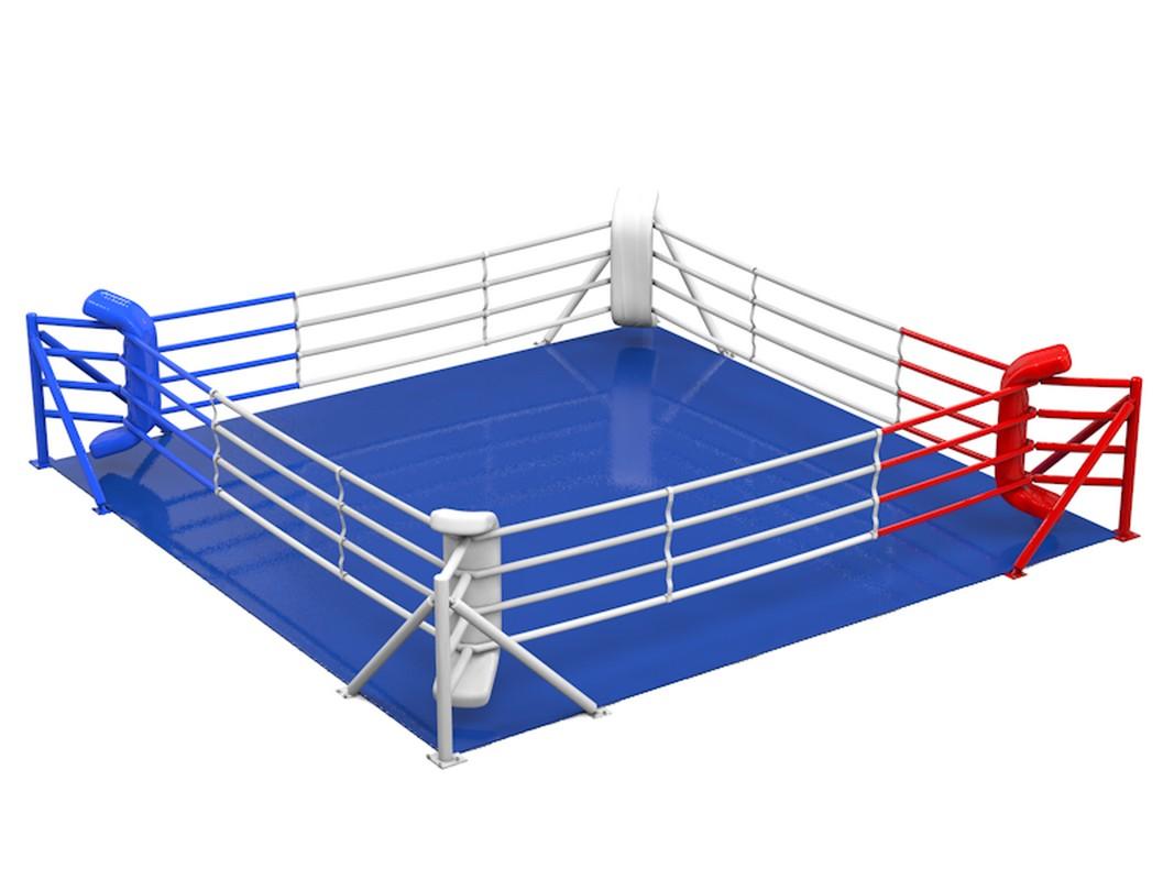 Купить Ринг боксерский Glav 6х6 м на упорах, боевая зона 5х5 5.301.2,