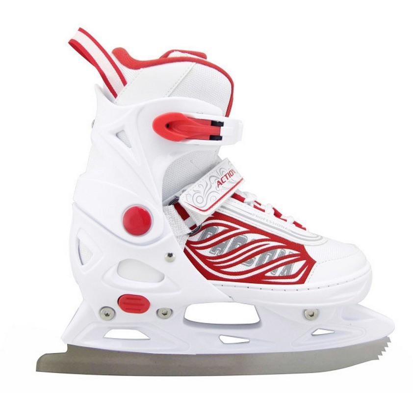 Коньки ледовые Action PW-030 раздвижные, бел/красн. от Дом Спорта