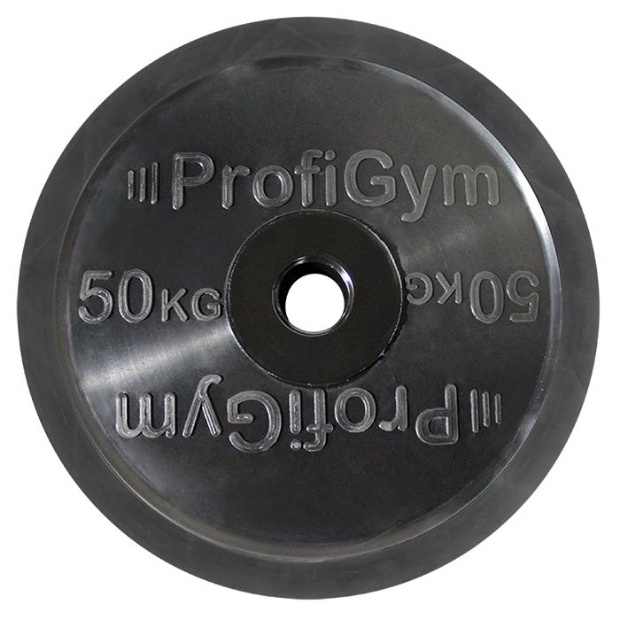 Купить Диск ProfiGym олимпийский (51мм) обрезиненный 50 кг, черный ДО-50/51,