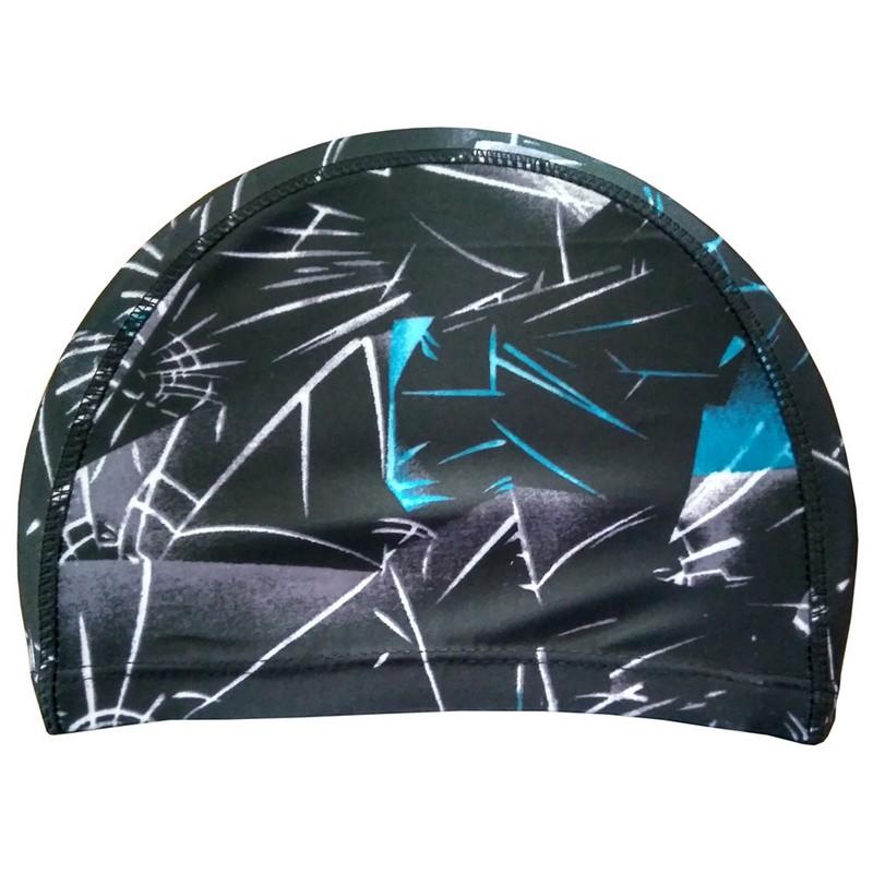 Купить Шапочка для плавания лайкра R18078 черная с голубым, NoBrand
