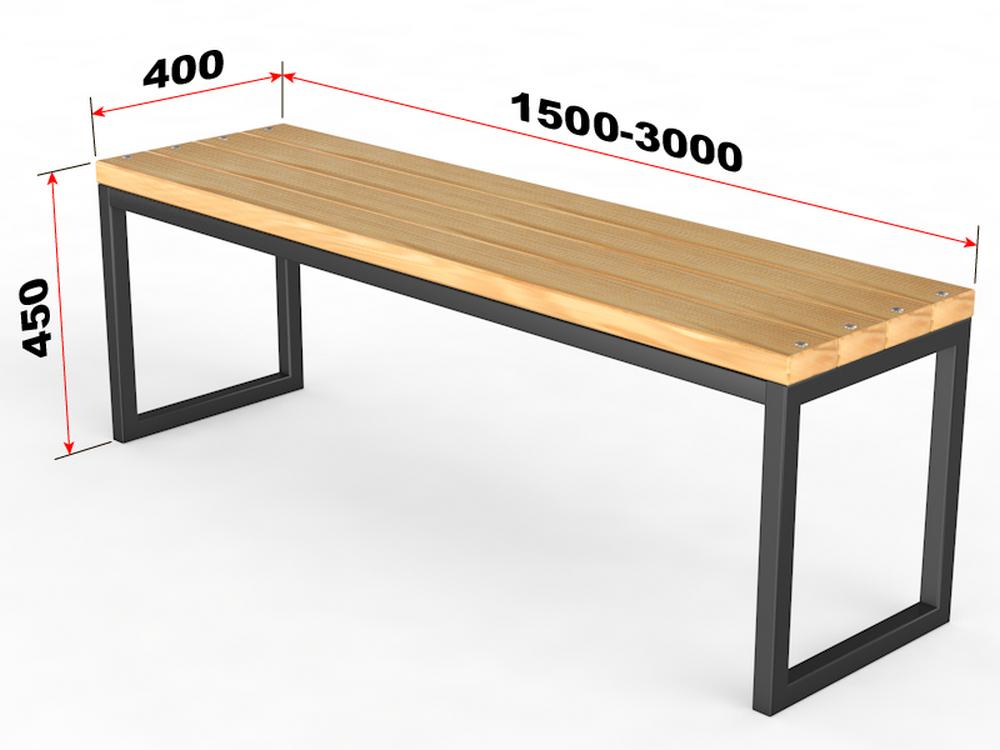 Купить Уличная скамейка без спинки Прямоугольник Glav 14.6.200,