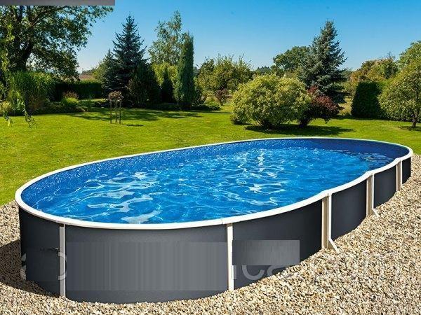 Купить Морозоустойчивый бассейн Azuro Graphite овальный 5.5x3.7x1.2 м Basic,