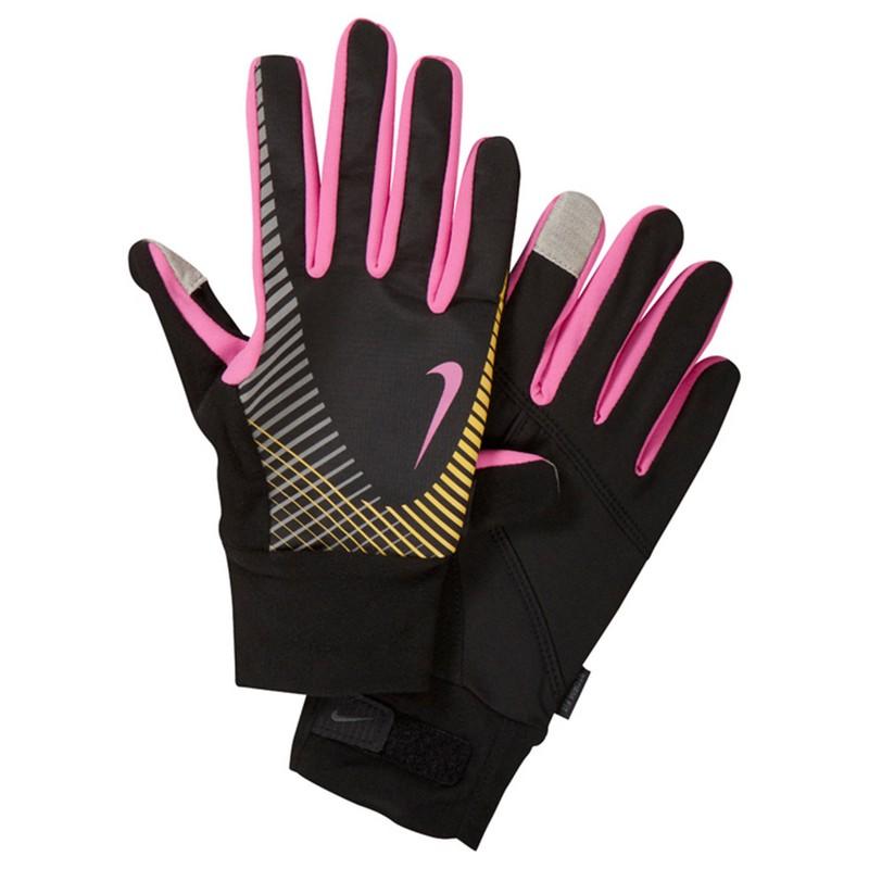 Перчатки для бега Nike Women'S Elite Storm Fit Tech Run Glove Black/Club Pink/Laser Orange nike перчатки для бега nike n rg 32 046 черный