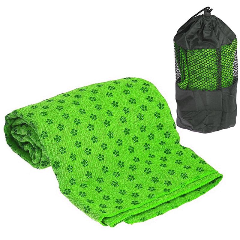 Купить Полотенце для Йоги 183х63 см, с сумкой переноски C28849-6 зеленое, NoBrand