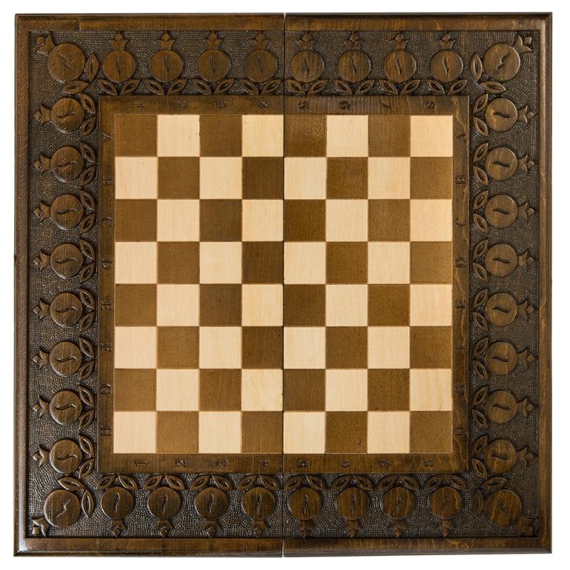 Шахматы + нарды резные Haleyan с гранатами 60 шахматы нарды резные haleyan бриз 50