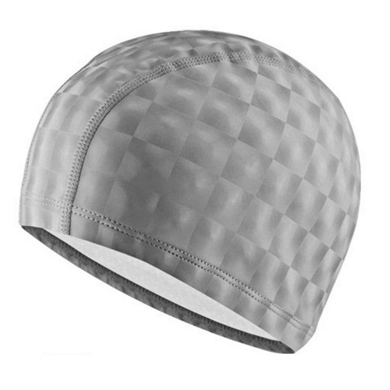 Купить Шапочка для плавания одноцветная B31517-9 3D (Серебро), NoBrand