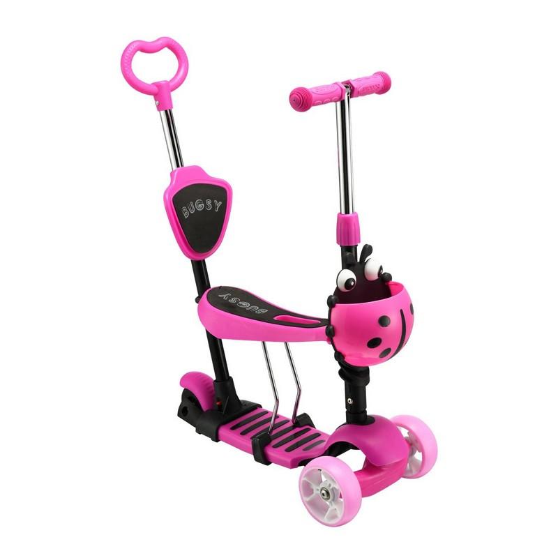 Самокат - беговел с ручкой RGX Bugsy Led pink фото