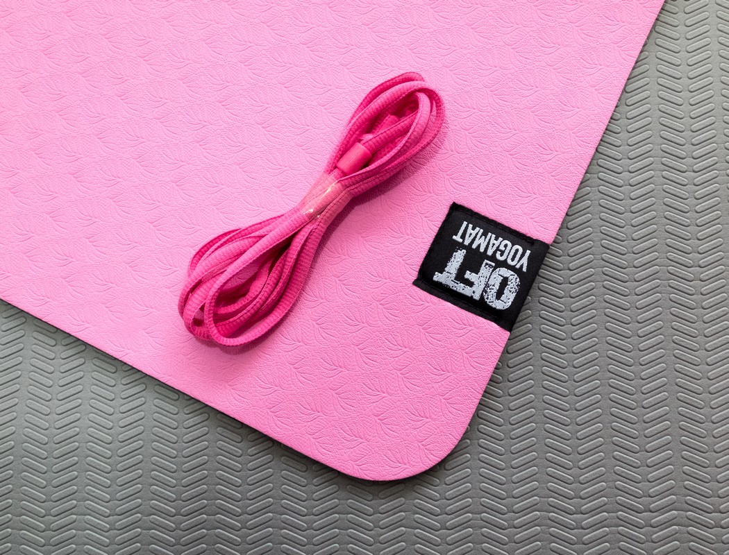 Мат для йоги Original Fit.Tools FT-YGM6-2LT-PINK-BK розовый-серый