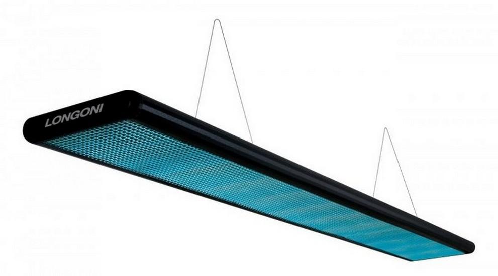 Лампа плоская люминесцентная Longoni Nautilus (черная, бирюзовый отражатель) 75.205.02.4