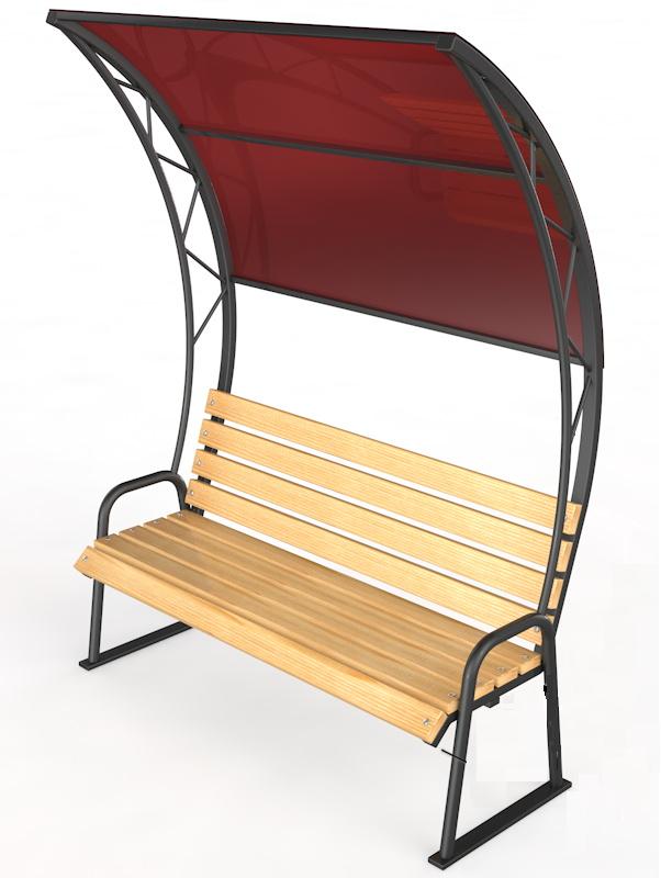Уличная скамейка с навесом Glav 14.6.4000,  - купить со скидкой