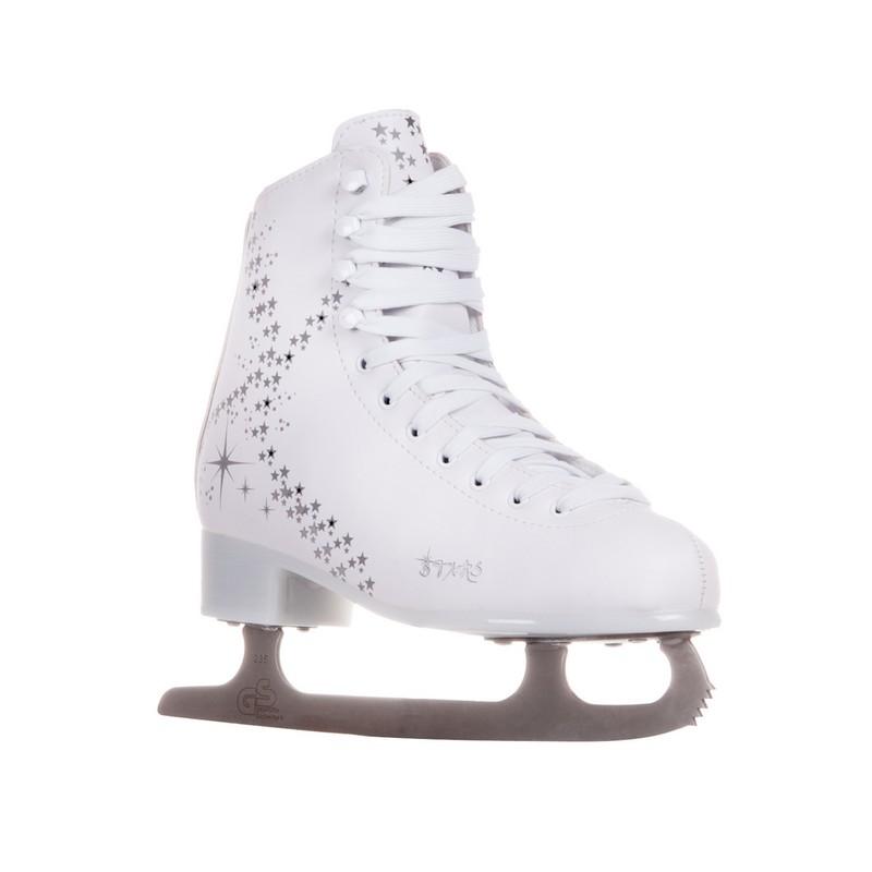 Фигурные коньки Alpha Caprice Stars LED-подсветка белый