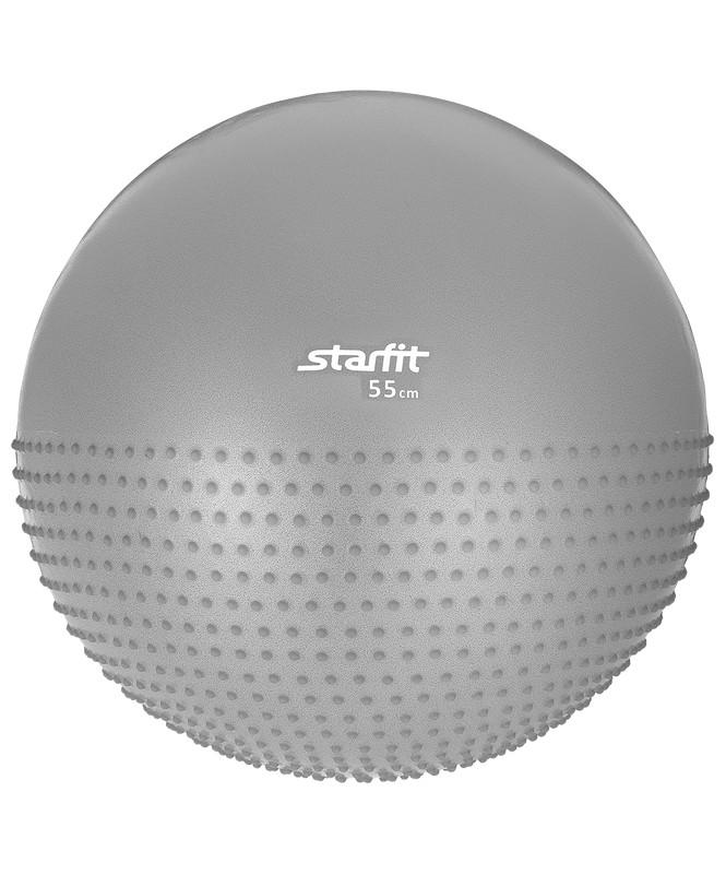 Купить Гимнастический мяч полумассажный Star Fit GB-201 55 см антивзрыв серый,