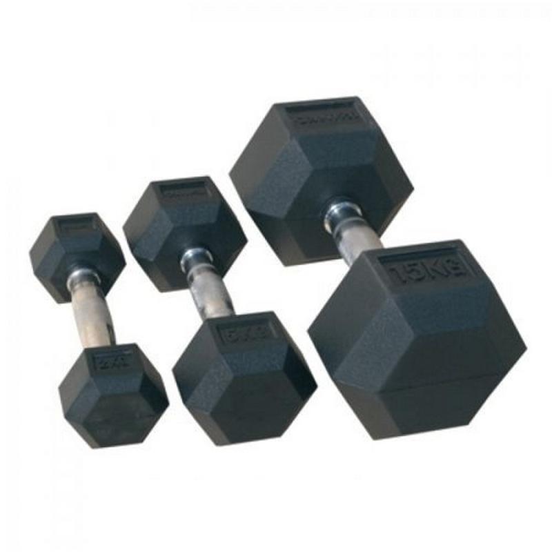 Купить Гантель гексагональная обрезиненная Johns 45 кг 72014-45 чёрный,