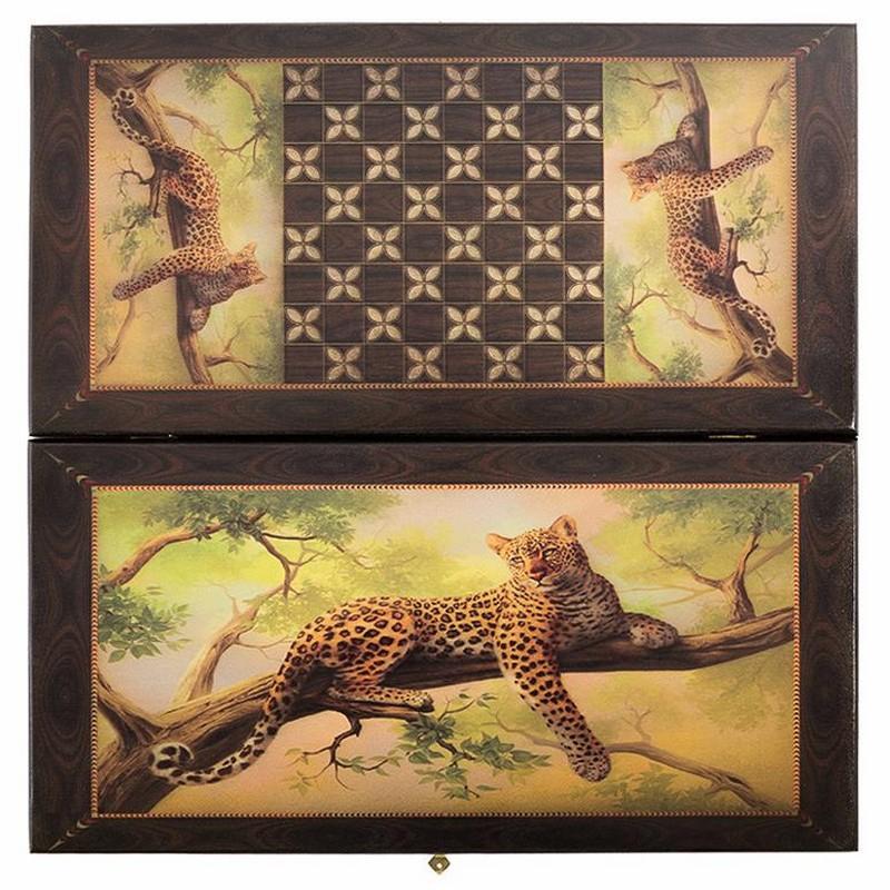Купить Нарды + шашки Смоленские Леопард на ветке средние smleonv50, NoBrand, Шахматы, шашки, нарды