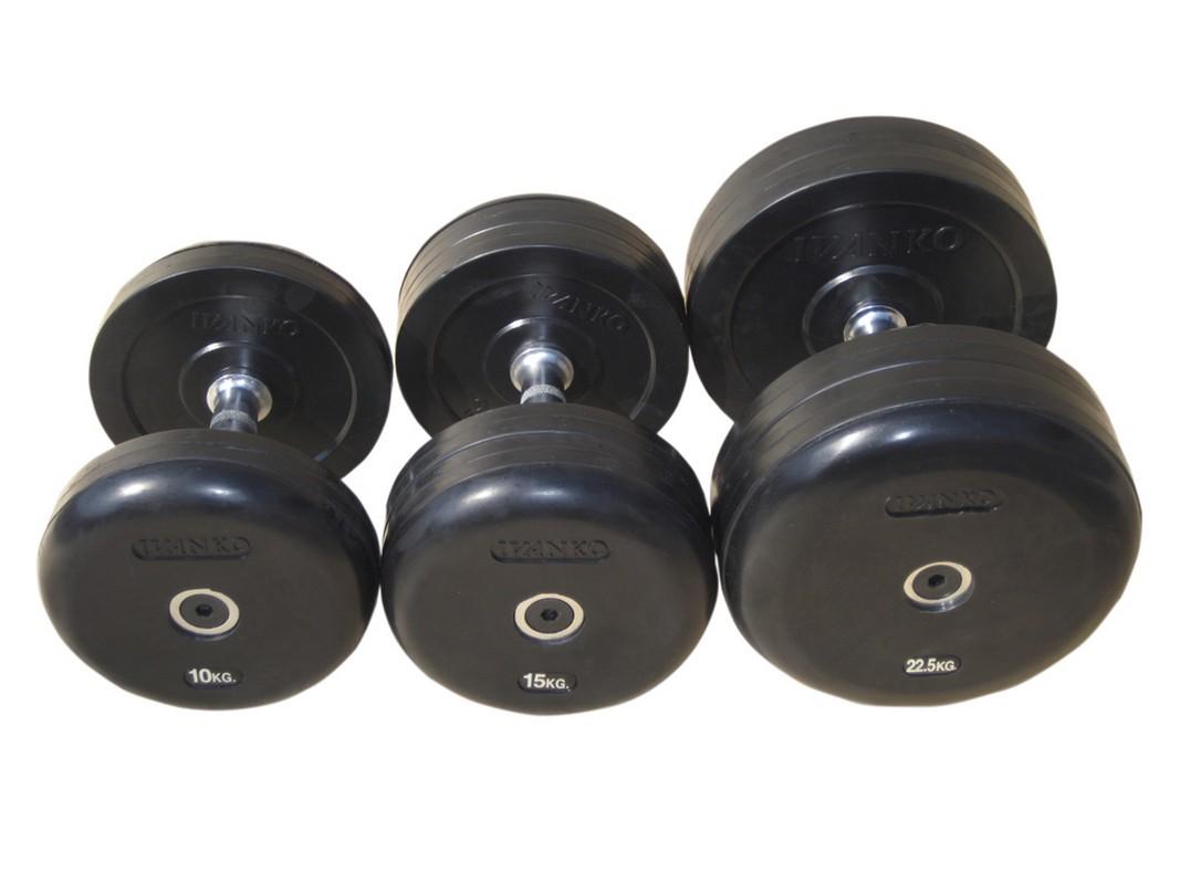 Гантель фиксированная обрезиненная Johns 45 кг 75074-45 чёрный,  - купить со скидкой